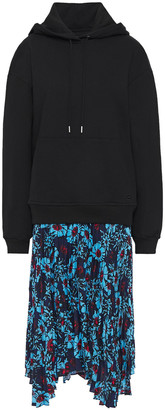 Markus Lupfer Emilee Cotton-fleece And Floral-print Crepe De Chine Hooded Midi Dress
