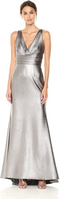 Carmen Marc Valvo Women's V Front and Back Pleated Metaillic Scuba Gown