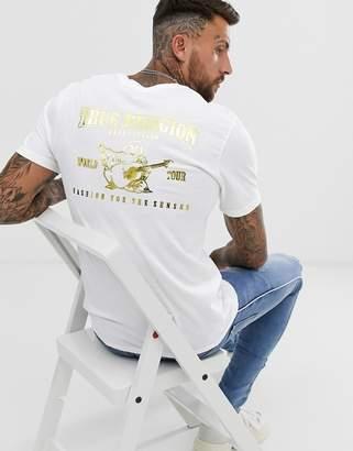 True Religion buddah metalic logo t-shirt in white