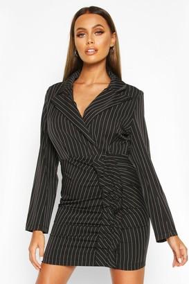 boohoo Pinstripe Ruffle Side Blazer Dress