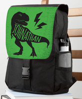 Green & Black Personalized Planet Backpacks Green - Black & Green T-Rex Personalized Flap Backpack