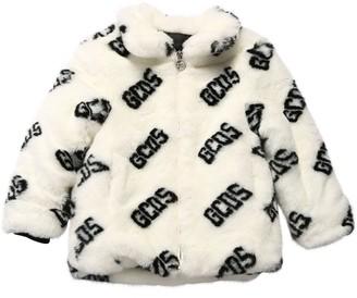 GCDS All Over Logo Faux Fur Coat