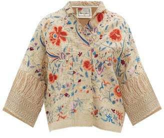 By Walid Cassie Antique Floral-embroidered Silk Jacket - Womens - Ivory
