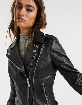 Barneys New York ribbed belt detail leather jacket in black