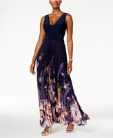 Xscape Evenings Petite Printed Chiffon Pleated Gown
