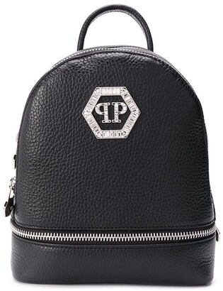 Philipp Plein Zipped Logo Plaque Backpack