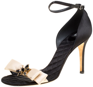 Dolce & Gabbana Beige/ Black Satin Ankle Strap Open Toe Sandals Size 40