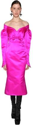 Off The Shoulder Draped Silk Midi Dress