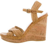 Stuart Weitzman Raffia Cork Wedge Sandals