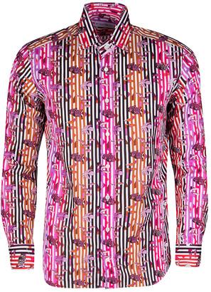 Etro Multicolor Fish Print Striped Cotton Long Sleeve Button Front Shirt XL