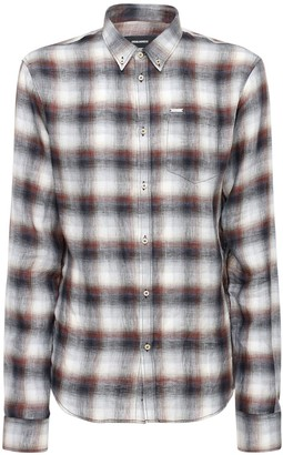 DSQUARED2 Wrinkled Check Linen Button Down Shirt