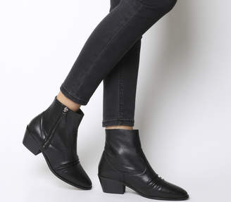 Office Acute Ruched Boots Black Leather