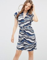 French Connection Tea Dress in Wavy Stripe