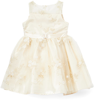 Nannette Kids Girls' Casual Dresses OFFWH - Off-White Embroidered Belted A-Line Dress - Girls