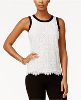 Tommy Hilfiger Contrast-Trim Lace Shell