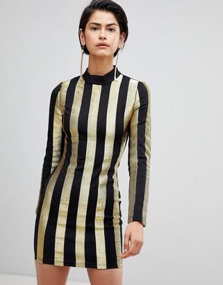 Forever Unique Stripe High Neck Dress