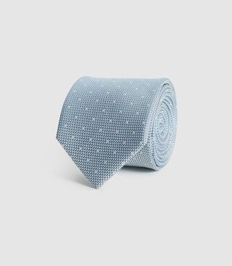 Reiss LIAM SILK POLKA DOT TIE Airforce Blue