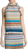 Missoni Ruffled Halter-Neck Top, Blue/Multi Colors