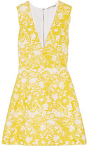 Alice + Olivia Pacey Guipure Lace Mini Dress - Marigold