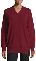 Joseph Wool V-Neck Pullover Sweater, Oxblood