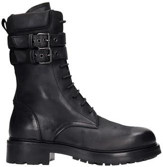 Elena Iachi Combat Boots In Black Leather