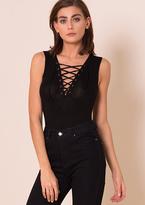Missy Empire Cassidy Black Lace Up Sleeveless Bodysuit