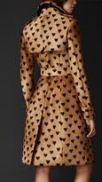 Burberry Heart Print Calfskin Trench Coat