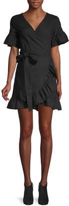 Charlie Holiday Ruffled Cotton & Linen Wrap Sheath Dress