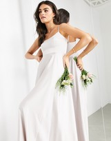 Thumbnail for your product : ASOS EDITION satin cami maxi dress with square neck in pale silver