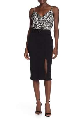 Elodie K Belted Rib Knit Knee-Length Skirt
