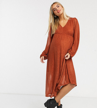 ASOS DESIGN Maternity long sleeve burnout stripe midi dress