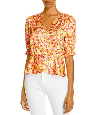 Sally Wu Designs Lini Printed Faux Wrap Blouse - 100% Exclusive