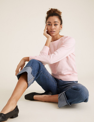 Marks and Spencer Pure Cotton Relaxed Long Sleeve Sweatshirt