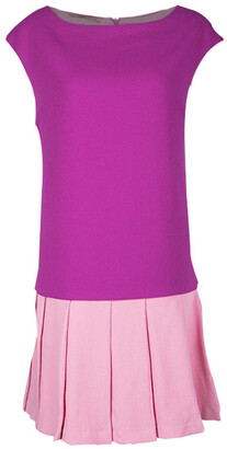 Ermanno Scervino Colorblock Wool Pleated Flared Bottom Sleeveless Dress M