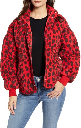 Blank NYC Leopard Print Quilted Jacket