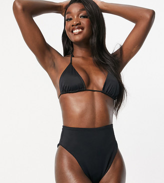 Asos Tall ASOS DESIGN tall recycled mix and match high leg high waist bikini bottom in black
