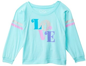 Chaser Recycled Vintage Jersey Boxy Long Sleeve Cropped Raglan (Little Kids/Big Kids) (Breezy) Girl's Clothing