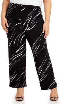 Alfani Plus Size Printed Wide-Leg Soft Pants, Created for Macy's