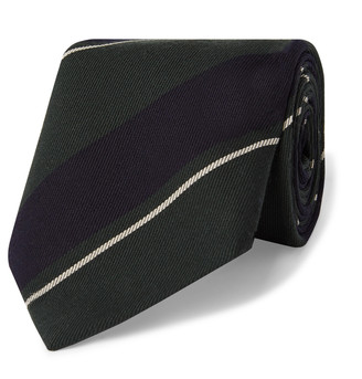Bigi 8cm Striped Wool And Cotton-Blend Twill Tie