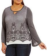 Democracy Plus Long Sleeve Key-Hole Crochet Overlay Top