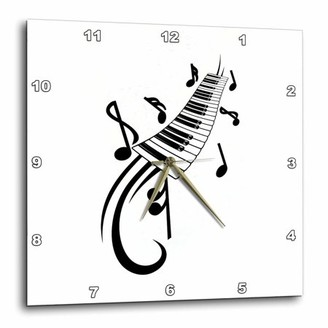 3drose 3dRose keyboard scroll and notes black, Wall Clock, 10 by 10-inch