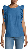 MiH Jeans Caval Butterfly-Sleeve Top, Sunset Blue
