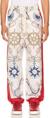 Gucci Nautical Print Nylon Pants in Live Red & Multi | FWRD