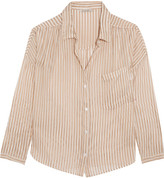 Mes Demoiselles Comma Metallic Striped Chiffon Shirt - Ecru