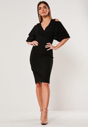 Missguided Black Cold Shoulder Plunge Bodycon Midi Dress
