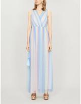 Olivia Rubin Adelina rainbow striped tulle maxi dress