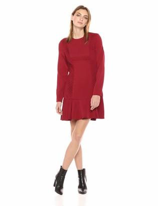 C/Meo Women's Visceral Longsleeve Pleated Ruffle Mini Dress