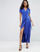 Asos Crepe Wrap Maxi Dress With Cap Sleeves