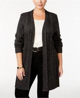 Karen Scott Plus Size Open-Front Cardigan, Only at Macy's