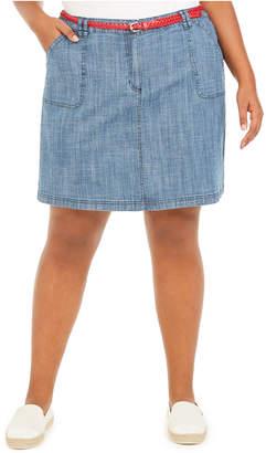 Karen Scott Plus Size Belted Chambray Skort